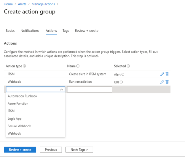 create action group - Inactive Users in Azure Active Directory
