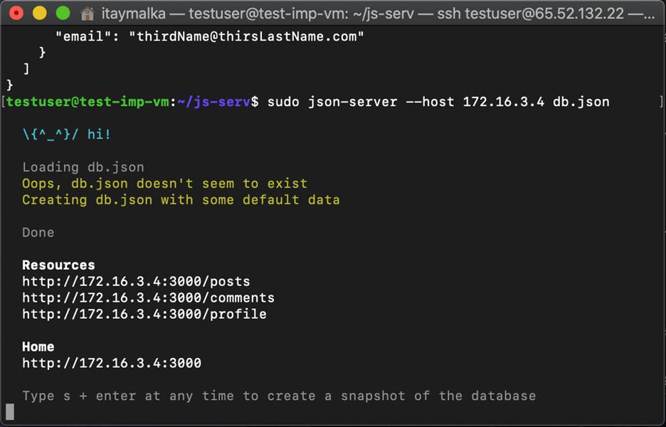 Run json-server --host YOUR_IP data.json